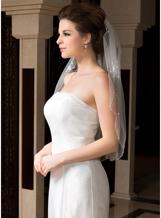 One-tier Elbow Bridal Veils With Beaded Edge