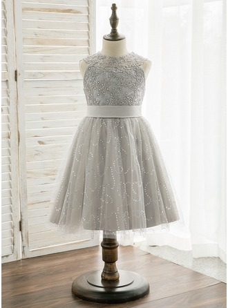 Knee-length Flower Girl Dress - Tulle Lace Sleeveless Scoop Neck With Beading