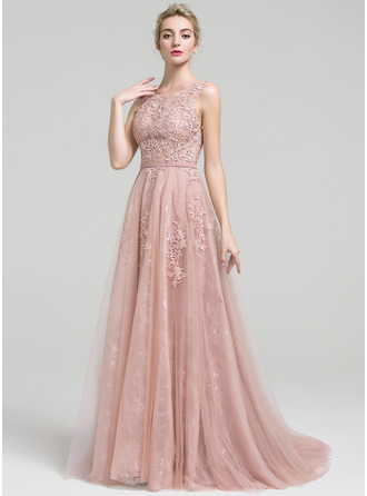 A-Line/Princess Scoop Neck Court Train Tulle Lace Prom Dresses With Beading