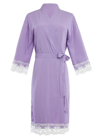 Bride Bridesmaid Cotton With Knee-Length Kimono Robes