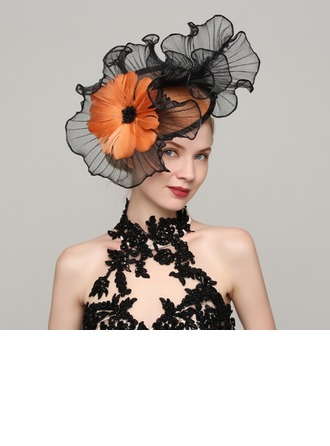 Dames Mooi Batist/Feather met Feather Fascinators