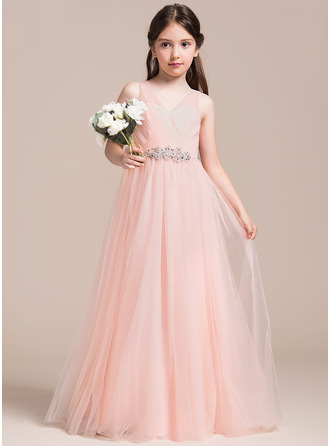 V-neck Floor-Length Tulle Junior Bridesmaid Dress With Ruffle Beading Sequins