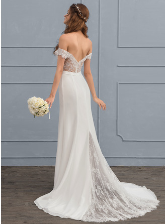 Trumpet/Mermaid Off-the-Shoulder Court Train Chiffon Lace Wedding Dress With Beading Sequins