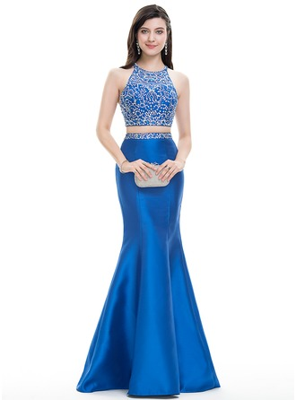 Trumpet/Mermaid Scoop Neck Floor-Length Satin Prom Dresses With Beading Sequins