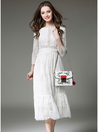 Lace With Stitching Midi Dress