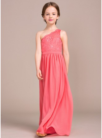 Floor-length Flower Girl Dress - Chiffon Lace Sleeveless One-Shoulder