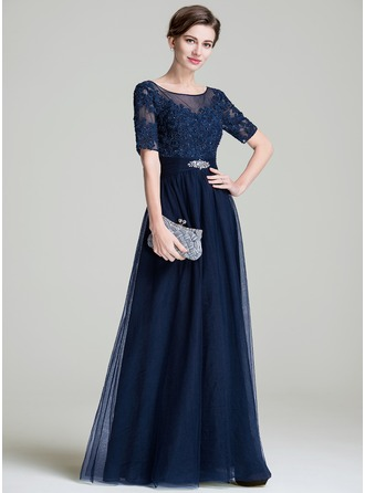 Scoop Neck Floor-Length Tulle Mother of the Bride Dress With Ruffle Beading Appliques Lace Sequins