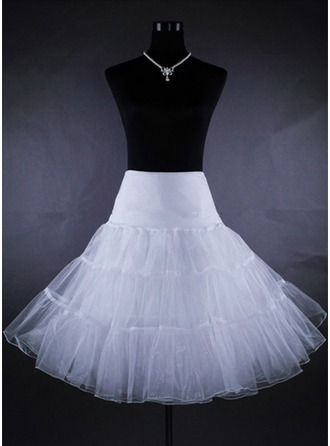 Women Tulle Netting/Satin Tea-length 2 Tiers Bustle