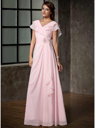 V-neck Floor-Length Chiffon Mother of the Bride Dress With Crystal Brooch Cascading Ruffles