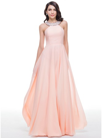 Scoop Neck Floor-Length Chiffon Prom Dresses With Beading