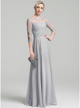 Scoop Neck Floor-Length Chiffon Mother of the Bride Dress With Ruffle Appliques Lace Sequins