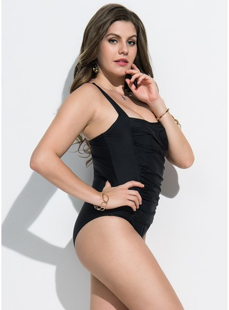 Elegant Solid Color Polyester One-piece Swimsuit