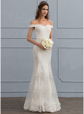 Trumpet/Mermaid Off-the-Shoulder Sweep Train Tulle Lace Wedding Dress With Sequins