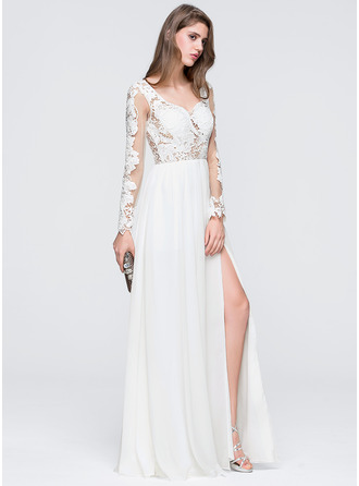 Sweetheart Floor-Length Chiffon Prom Dresses With Split Front