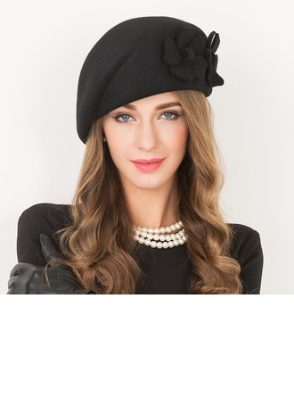 Ladies' Beautiful Wool With Flower Beret Hat