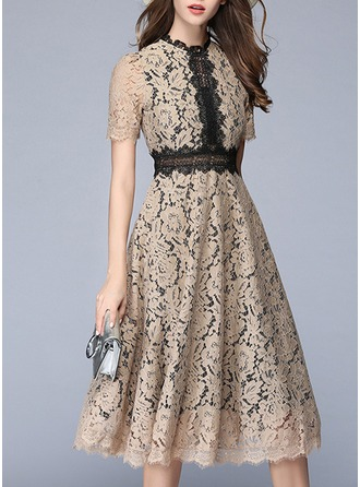 Lace With Lace/Stitching Knee Length Dress