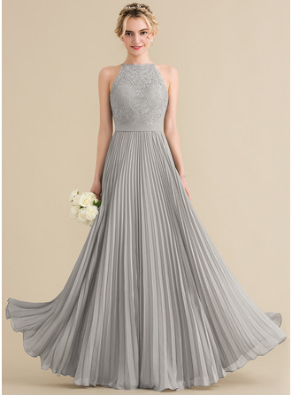 Scoop Neck Floor-Length Chiffon Lace Prom Dresses With Pleated