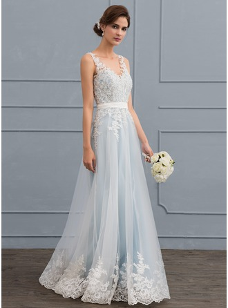 V-neck Floor-Length Tulle Lace Wedding Dress With Beading Sequins