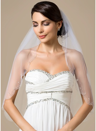 One-tier Elbow Bridal Veils With Scalloped Edge/Beaded Edge
