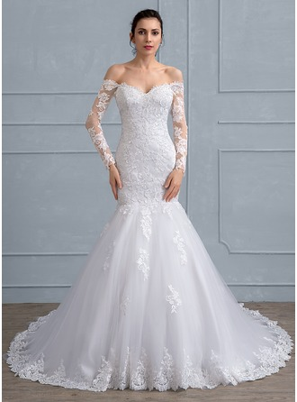 Trumpet/Mermaid Off-the-Shoulder Chapel Train Tulle Lace Wedding Dress With Beading Sequins