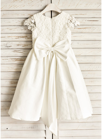 Knee-length Flower Girl Dress - Cotton Sleeveless Scoop Neck With Lace Bow(s)