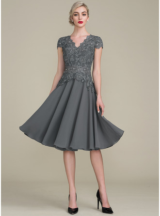 V-neck Knee-Length Cocktail Dress With Beading