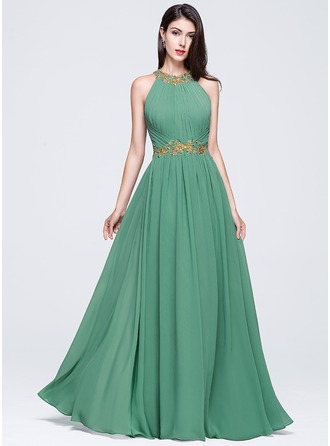 Scoop Neck Floor-Length Chiffon Prom Dresses With Ruffle Beading Appliques Lace Sequins
