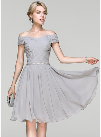 Off-the-Shoulder Knee-Length Chiffon Cocktail Dress With Ruffle Beading