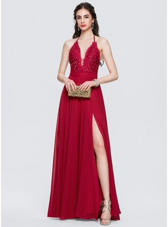 Halter Floor-Length Chiffon Prom Dresses With Split Front