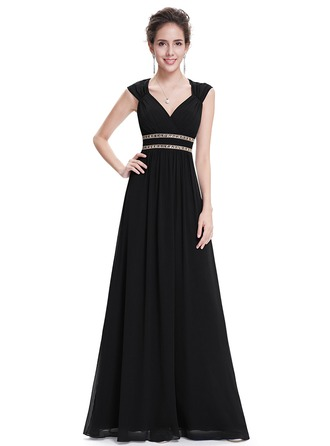 Polyester/Satin/Silk Blend With Beaded/Ruffles Maxi Dress