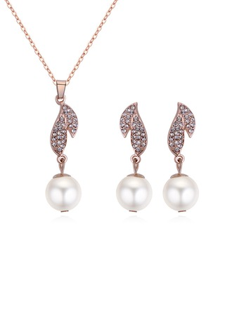 Shining Alloy Rhinestones Imitation Pearls With Rhinestone Women's Jewelry Sets (Set of 2)
