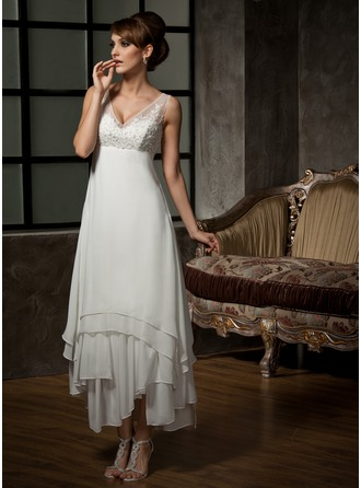 V-neck Ankle-Length Chiffon Tulle Wedding Dress With Lace Beading Sequins