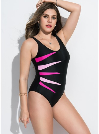 Elegant Colorful Polyester One-piece Swimsuit