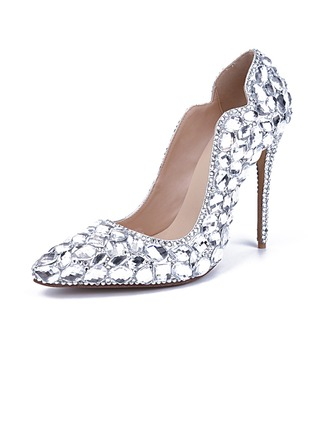 Women's Patent Leather Stiletto Heel Closed Toe Pumps With Rhinestone Crystal Heel