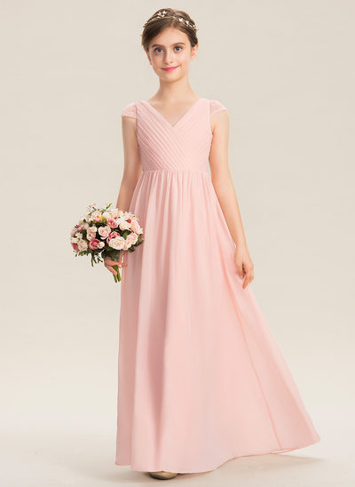A-Line V-neck Floor-Length Chiffon Lace Junior Bridesmaid Dress With Ruffle