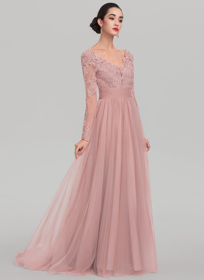 A-Line/Princess V-neck Sweep Train Tulle Evening Dress With Beading Sequins