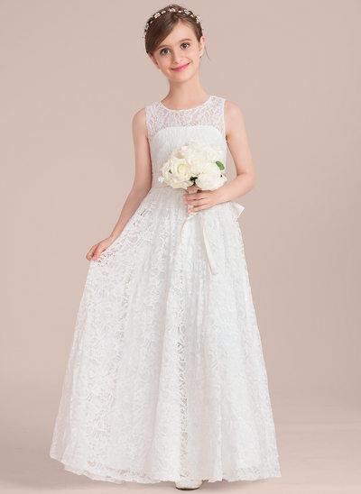 A-Line/Princess Scoop Neck Floor-Length Lace Junior Bridesmaid Dress With Sash Bow(s)