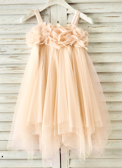 A-Line/Princess Knee-length Flower Girl Dress - Tulle Sleeveless Straps With Beading