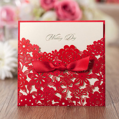 Personalized Classic Style/Modern Style Wrap & Pocket Invitation Cards With Ribbons