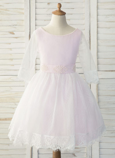 A-Line Knee-length Flower Girl Dress - Tulle/Lace Long Sleeves Scoop Neck