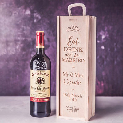Groom Gifts - Personalized Solid Color Wooden Wine Box
