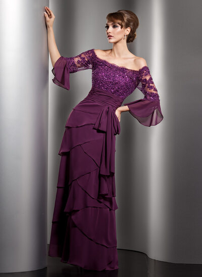 A-Line/Princess Off-the-Shoulder Floor-Length Chiffon Prom Dresses With Lace Beading Sequins Bow(s) Cascading Ruffles