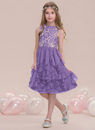 A-Line/Princess Scoop Neck Knee-Length Chiffon Junior Bridesmaid Dress With Cascading Ruffles