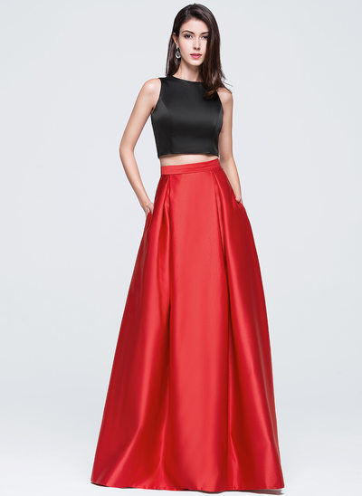 A-Line/Princess Scoop Neck Floor-Length Satin Prom Dresses With Pockets
