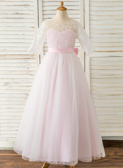 A-Line Floor-length Flower Girl Dress - Satin/Tulle/Lace 1/2 Sleeves Scoop Neck With Bow(s)