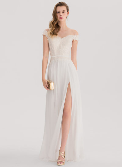 A-Line/Princess Off-the-Shoulder Floor-Length Chiffon Prom Dresses With Beading Sequins Split Front