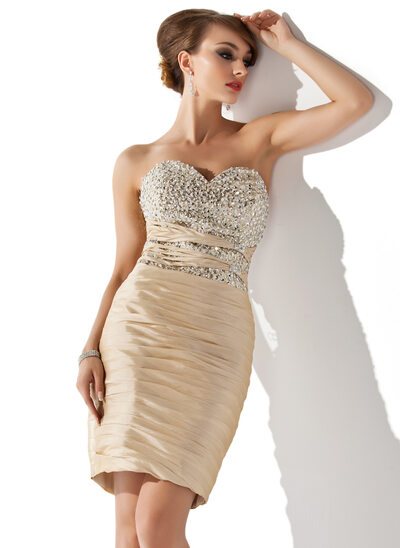 Sheath/Column Sweetheart Knee-Length Taffeta Cocktail Dress With Ruffle Beading Sequins