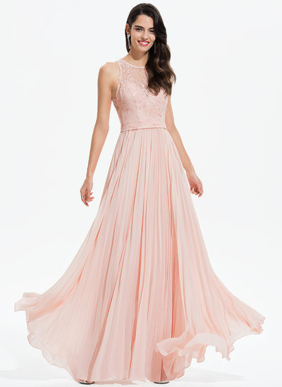 A-Line Scoop Neck Floor-Length Chiffon Evening Dress With Lace Pleated