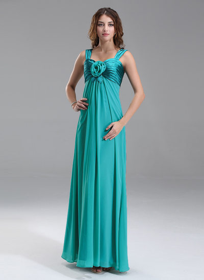 Empire Sweetheart Floor-Length Chiffon Charmeuse Maternity Bridesmaid Dress With Ruffle Flower(s)