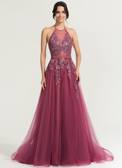 A-Line/Princess Halter Sweep Train Tulle Evening Dress With Sequins